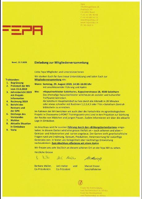 Einladung zur fepa Mitgliederversammlung 2020