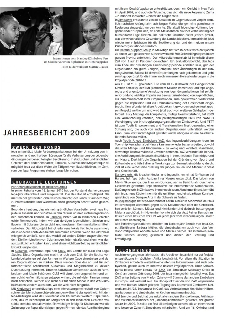 fepa Jahresbericht 2009