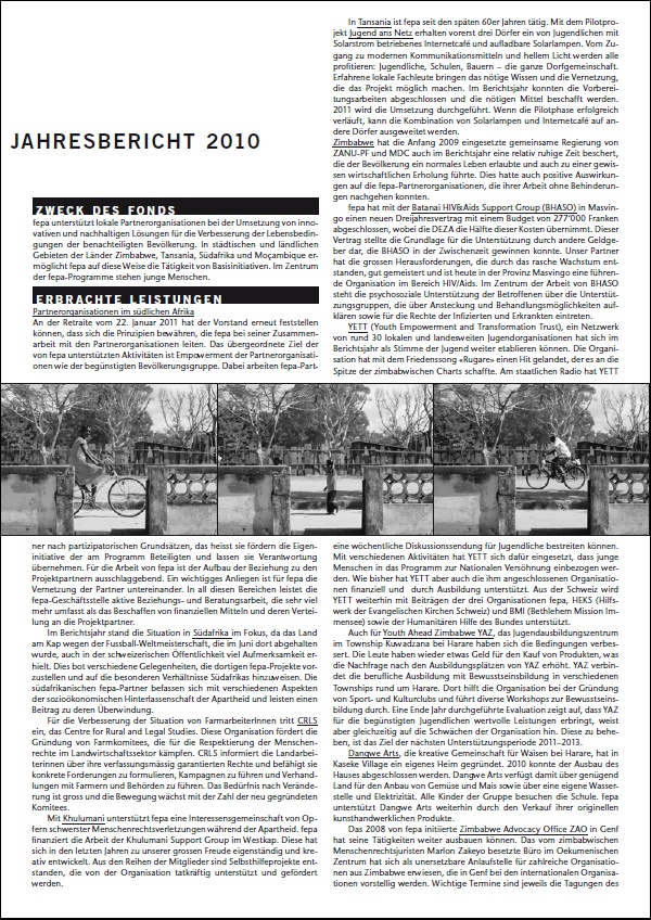 fepa Jahresbericht 2010