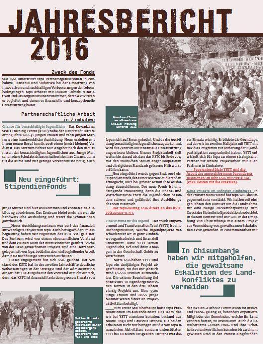 fepa Jahresbericht 2016